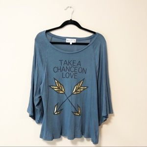 Wildfox Blue Take A Chance On Love Oversized Tee